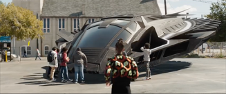 The Oakland kids crowd round the 'Bugatti spaceship', crowding round as the Wakandans did the first Black Panther. Even positioning of Shuri, representing the real might of Wakanda, is redolent of the frame from the prologue!